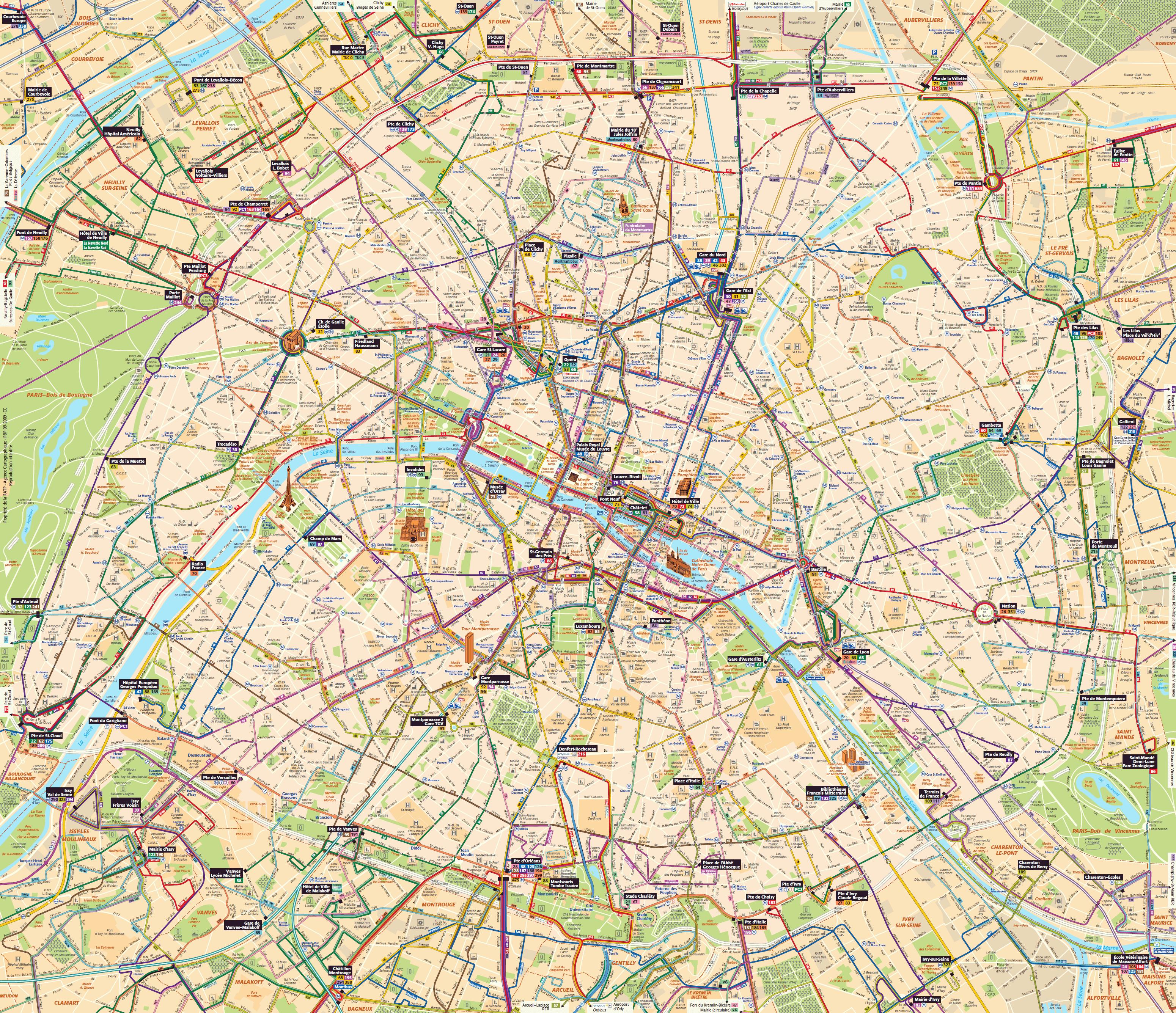 carte bus paris