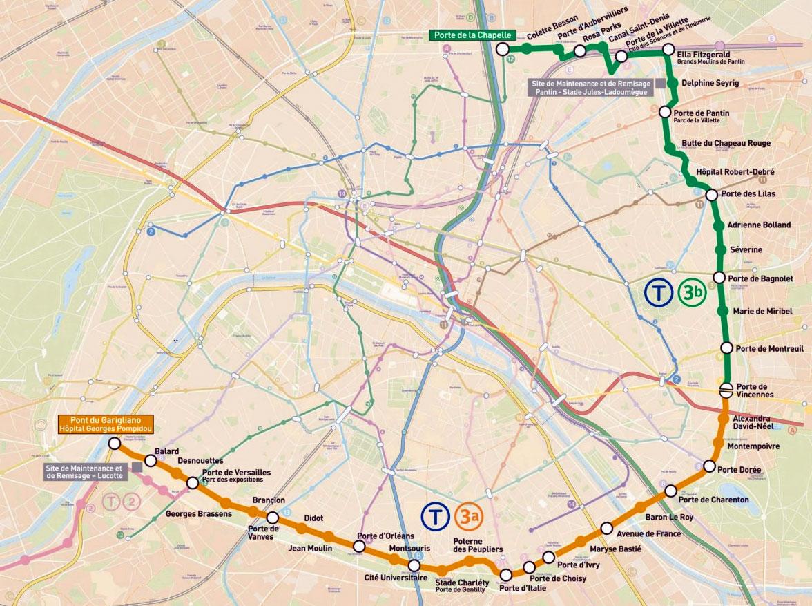 plan tramway Paris