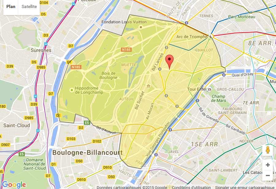 Plan paris 16 plan metro paris plan de paris - Location meuble paris 16e arrondissement ...